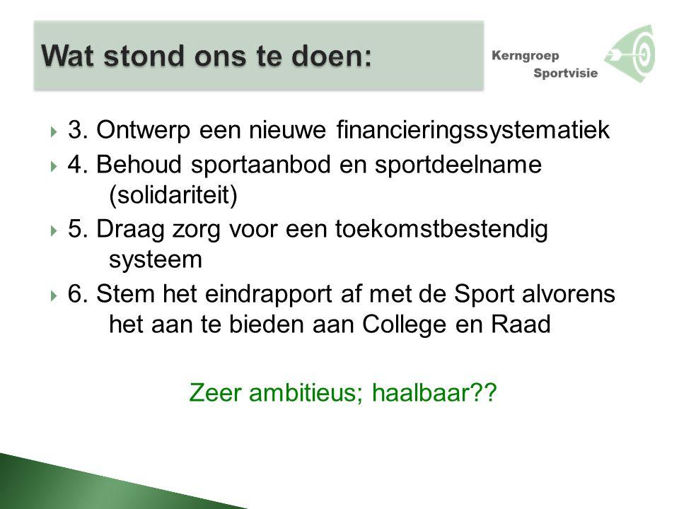  3. Ontwerp een nieuwe financieringssystematiek  4. Behoud sportaanbod en sportdeelname (solidariteit)  5. Draag zorg voor een toekomstbestendig sy