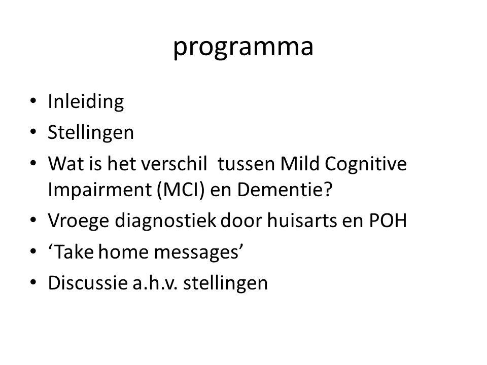 programma Inleiding Stellingen Wat is het verschil tussen Mild Cognitive Impairment (MCI) en Dementie? Vroege diagnostiek door huisarts en POH 'Take h
