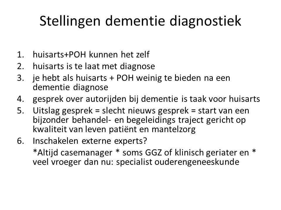 Stellingen dementie diagnostiek 1.huisarts+POH kunnen het zelf 2.huisarts is te laat met diagnose 3.je hebt als huisarts + POH weinig te bieden na een