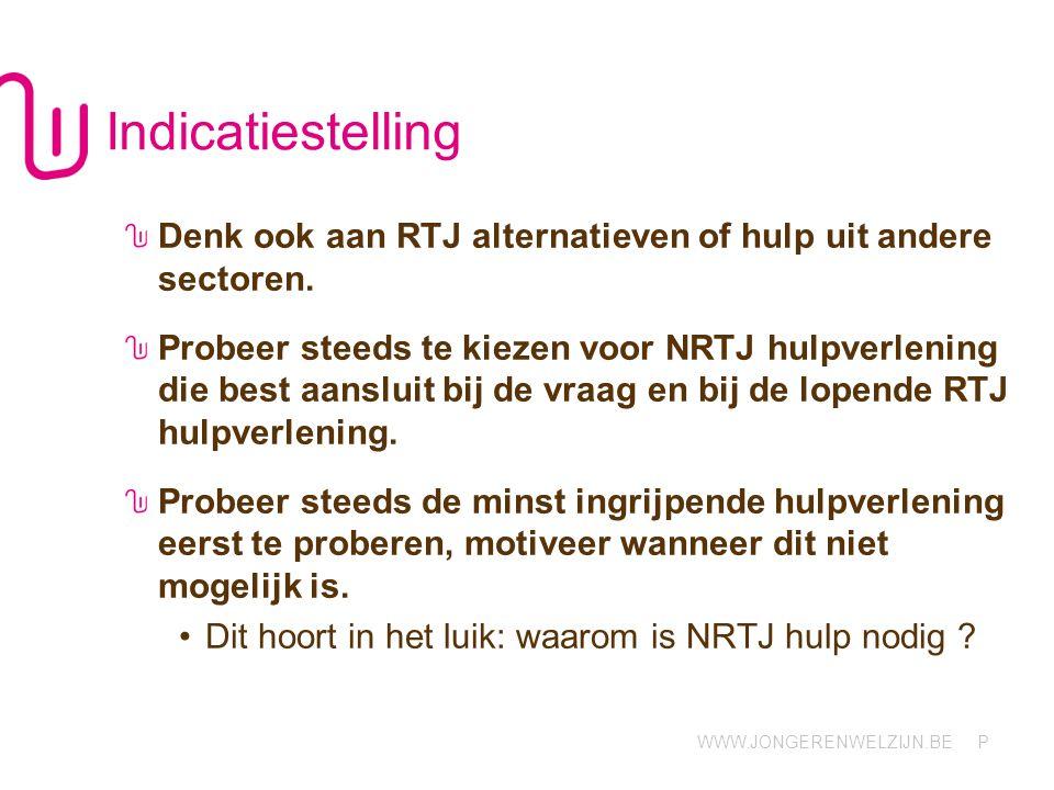 WWW.JONGERENWELZIJN.BE P Indicatiestelling Denk ook aan RTJ alternatieven of hulp uit andere sectoren.