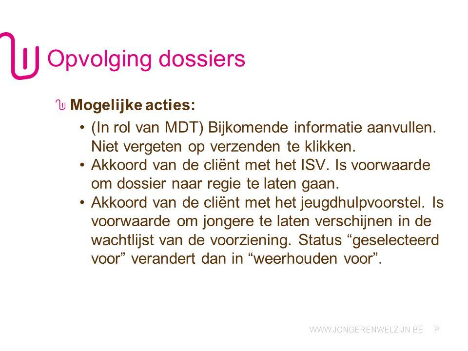WWW.JONGERENWELZIJN.BE P Opvolging dossiers Mogelijke acties: (In rol van MDT) Bijkomende informatie aanvullen.