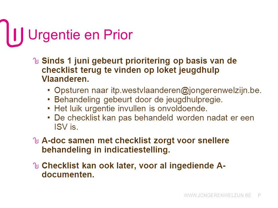 WWW.JONGERENWELZIJN.BE P Urgentie en Prior Sinds 1 juni gebeurt prioritering op basis van de checklist terug te vinden op loket jeugdhulp Vlaanderen.