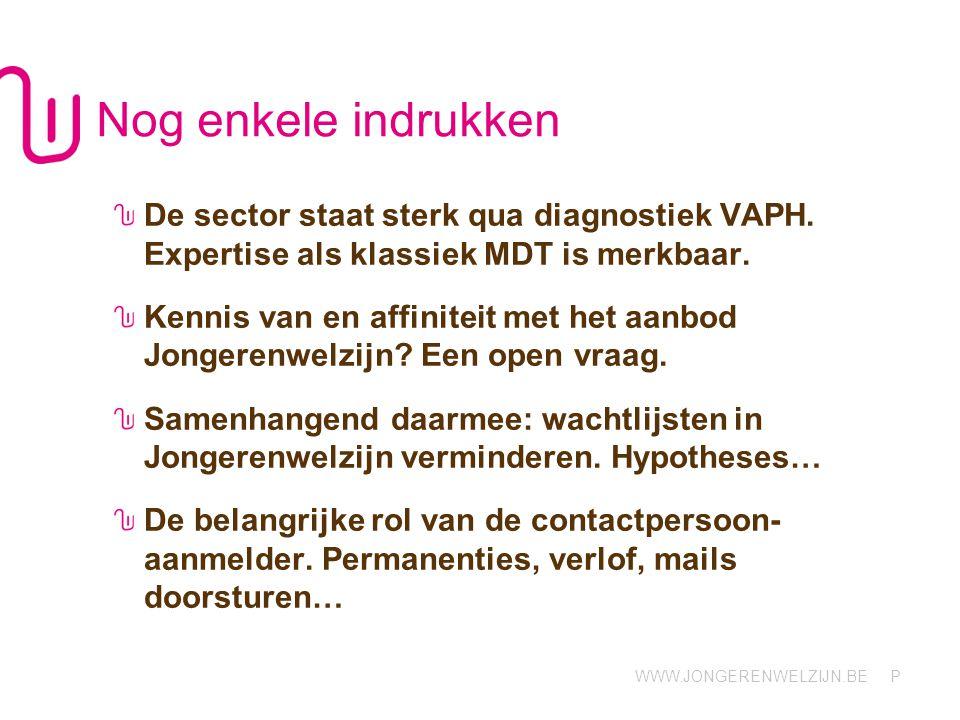 WWW.JONGERENWELZIJN.BE P Nog enkele indrukken De sector staat sterk qua diagnostiek VAPH.
