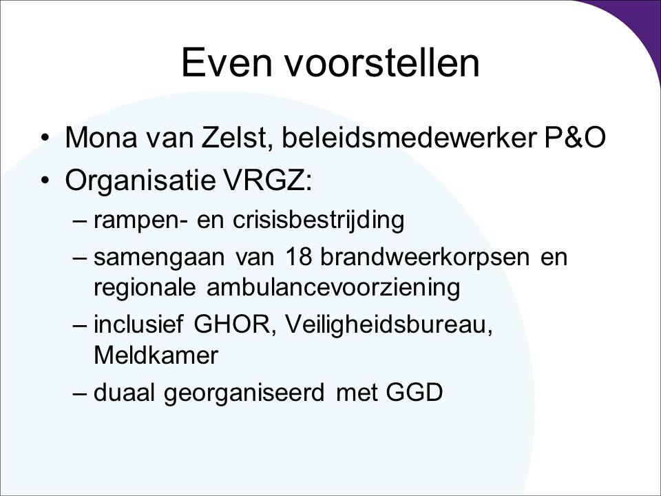 Even voorstellen Mona van Zelst, beleidsmedewerker P&O Organisatie VRGZ: –rampen- en crisisbestrijding –samengaan van 18 brandweerkorpsen en regionale ambulancevoorziening –inclusief GHOR, Veiligheidsbureau, Meldkamer –duaal georganiseerd met GGD