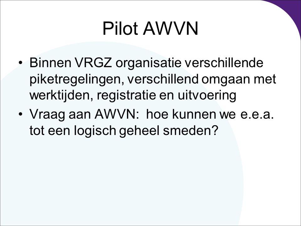 Pilot AWVN Binnen VRGZ organisatie verschillende piketregelingen, verschillend omgaan met werktijden, registratie en uitvoering Vraag aan AWVN: hoe kunnen we e.e.a.