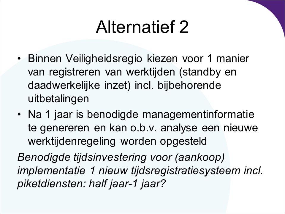 Alternatief 2 Binnen Veiligheidsregio kiezen voor 1 manier van registreren van werktijden (standby en daadwerkelijke inzet) incl. bijbehorende uitbeta