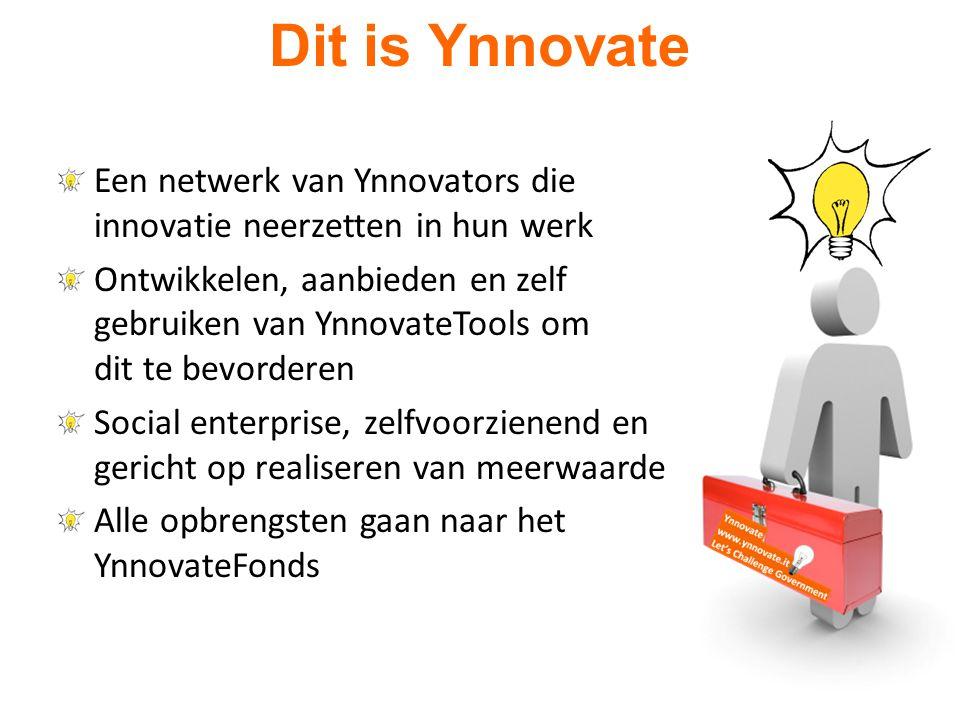 Een netwerk van Ynnovators die innovatie neerzetten in hun werk Ontwikkelen, aanbieden en zelf gebruiken van YnnovateTools om dit te bevorderen Social enterprise, zelfvoorzienend en gericht op realiseren van meerwaarde Alle opbrengsten gaan naar het YnnovateFonds Dit is Ynnovate