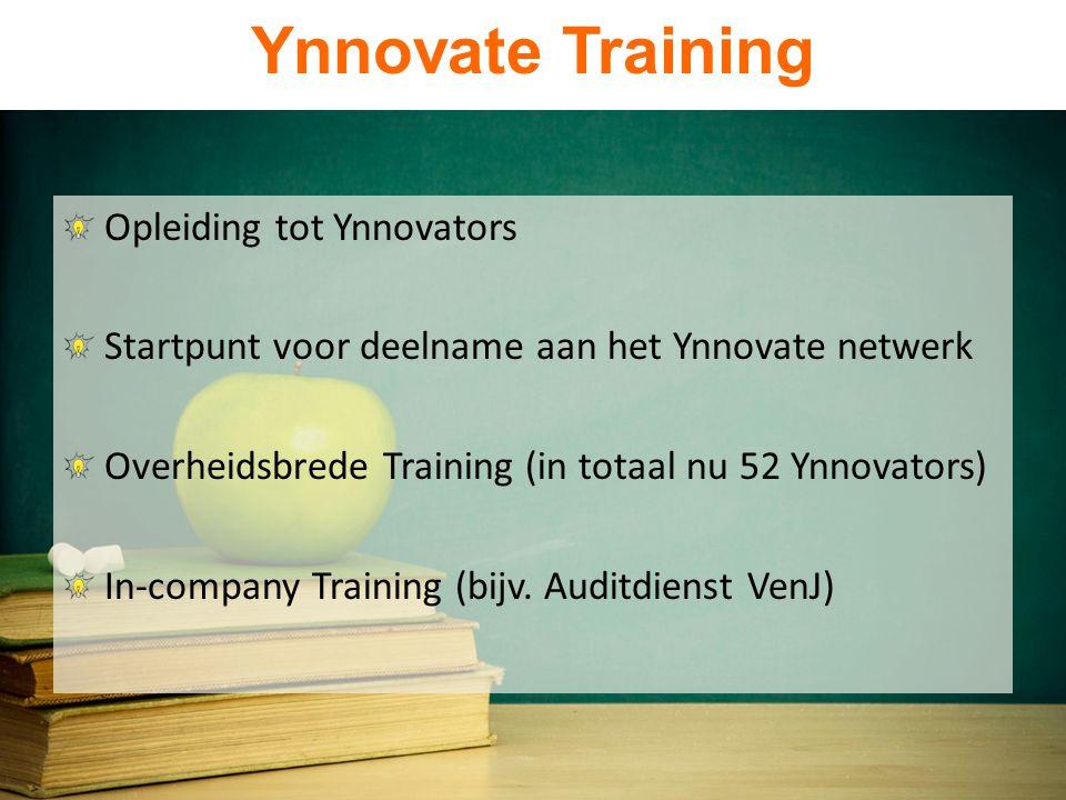 Ynnovate Training Opleiding tot Ynnovators Startpunt voor deelname aan het Ynnovate netwerk Overheidsbrede Training (in totaal nu 52 Ynnovators) In-company Training (bijv.