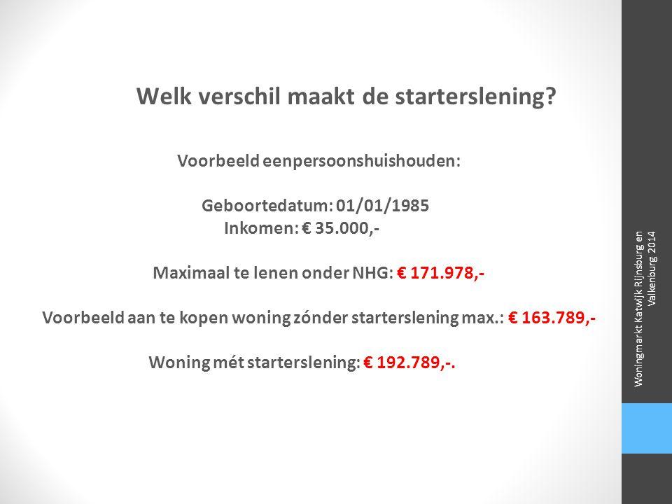Welk verschil maakt de starterslening? Voorbeeld eenpersoonshuishouden: Geboortedatum: 01/01/1985 Inkomen: € 35.000,- Maximaal te lenen onder NHG: € 1
