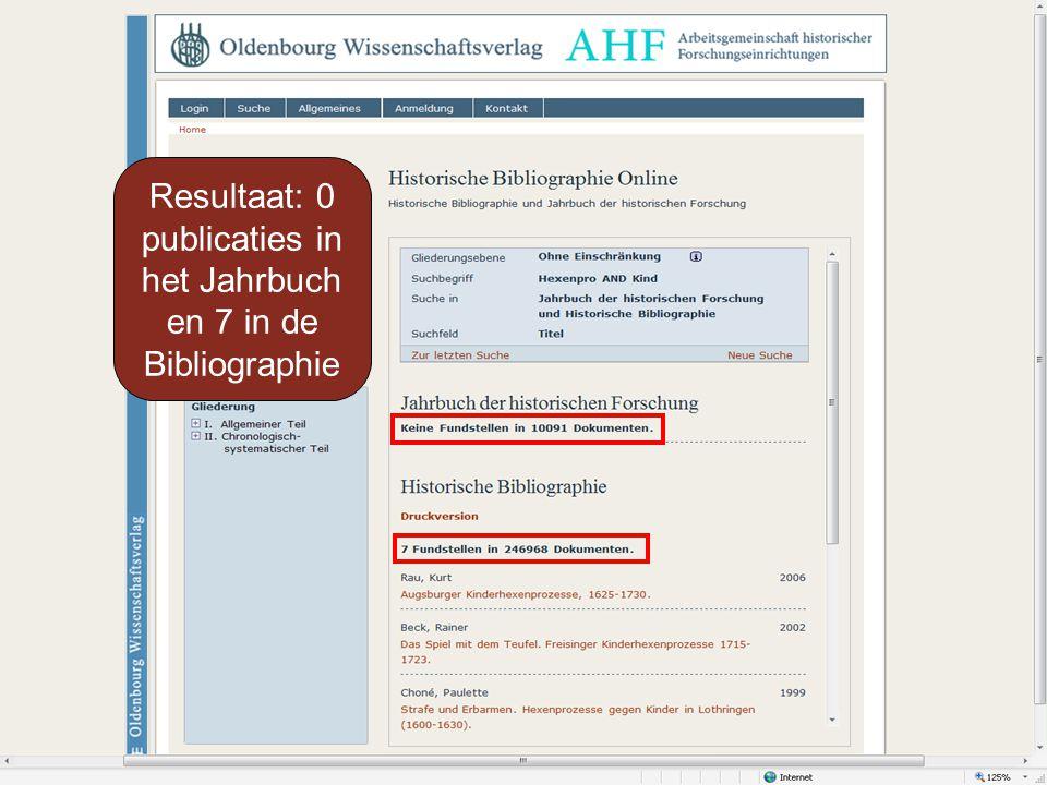 Resultaat: 0 publicaties in het Jahrbuch en 7 in de Bibliographie