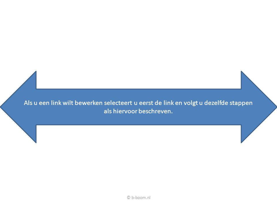 Als u een link wilt bewerken selecteert u eerst de link en volgt u dezelfde stappen als hiervoor beschreven. © b-boom.nl