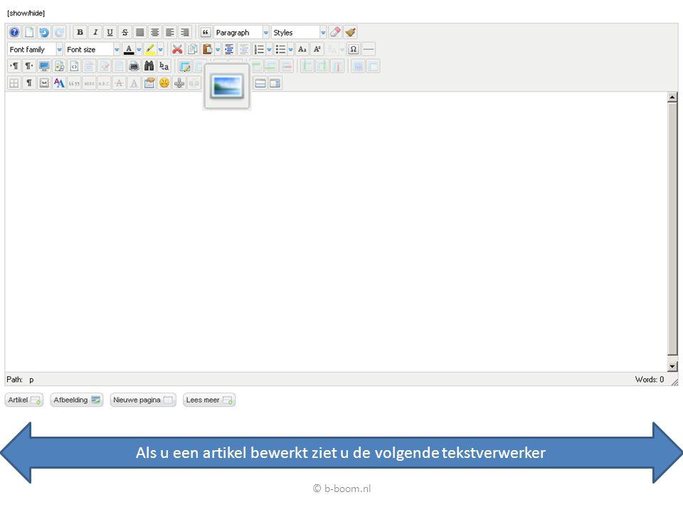 Als u een artikel bewerkt ziet u de volgende tekstverwerker Om een afbeelding in te voegen klik u hier © b-boom.nl