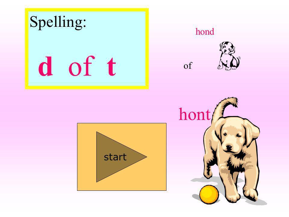 Spelling: d of t start hond hont of