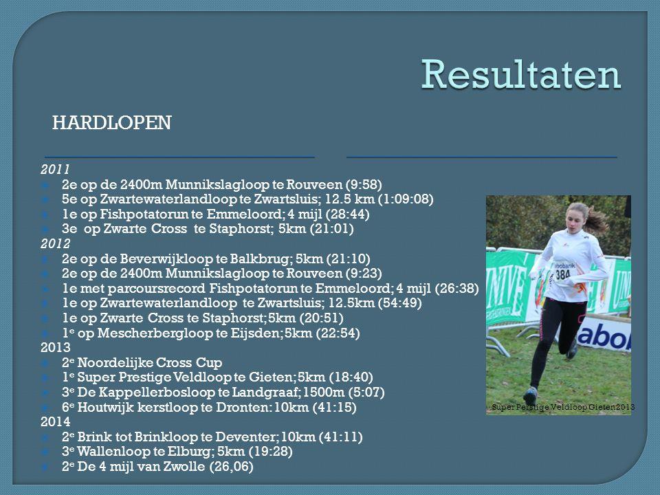 HARDLOPEN 2011  2e op de 2400m Munnikslagloop te Rouveen (9:58)  5e op Zwartewaterlandloop te Zwartsluis; 12.5 km (1:09:08)  1e op Fishpotatorun te Emmeloord; 4 mijl (28:44)  3e op Zwarte Cross te Staphorst; 5km (21:01) 2012  2e op de Beverwijkloop te Balkbrug; 5km (21:10)  2e op de 2400m Munnikslagloop te Rouveen (9:23)  1e met parcoursrecord Fishpotatorun te Emmeloord; 4 mijl (26:38)  1e op Zwartewaterlandloop te Zwartsluis; 12.5km (54:49)  1e op Zwarte Cross te Staphorst; 5km (20:51)  1 e op Mescherbergloop te Eijsden; 5km (22:54) 2013  2 e Noordelijke Cross Cup  1 e Super Prestige Veldloop te Gieten; 5km (18:40)  3 e De Kappellerbosloop te Landgraaf; 1500m (5:07)  6 e Houtwijk kerstloop te Dronten: 10km (41:15) 2014  2 e Brink tot Brinkloop te Deventer; 10km (41:11)  3 e Wallenloop te Elburg; 5km (19:28)  2 e De 4 mijl van Zwolle (26,06) Super Perstige Veldloop Gieten 2013