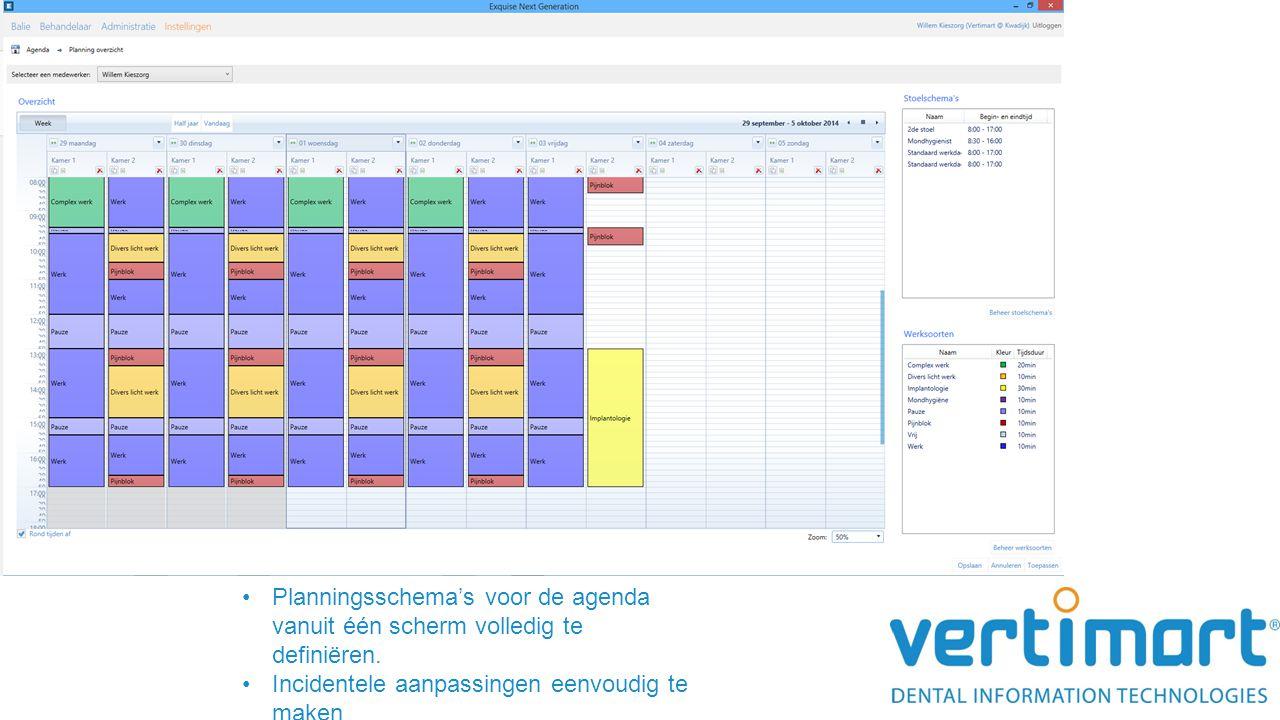 Planningsschema's voor de agenda vanuit één scherm volledig te definiëren. Incidentele aanpassingen eenvoudig te maken