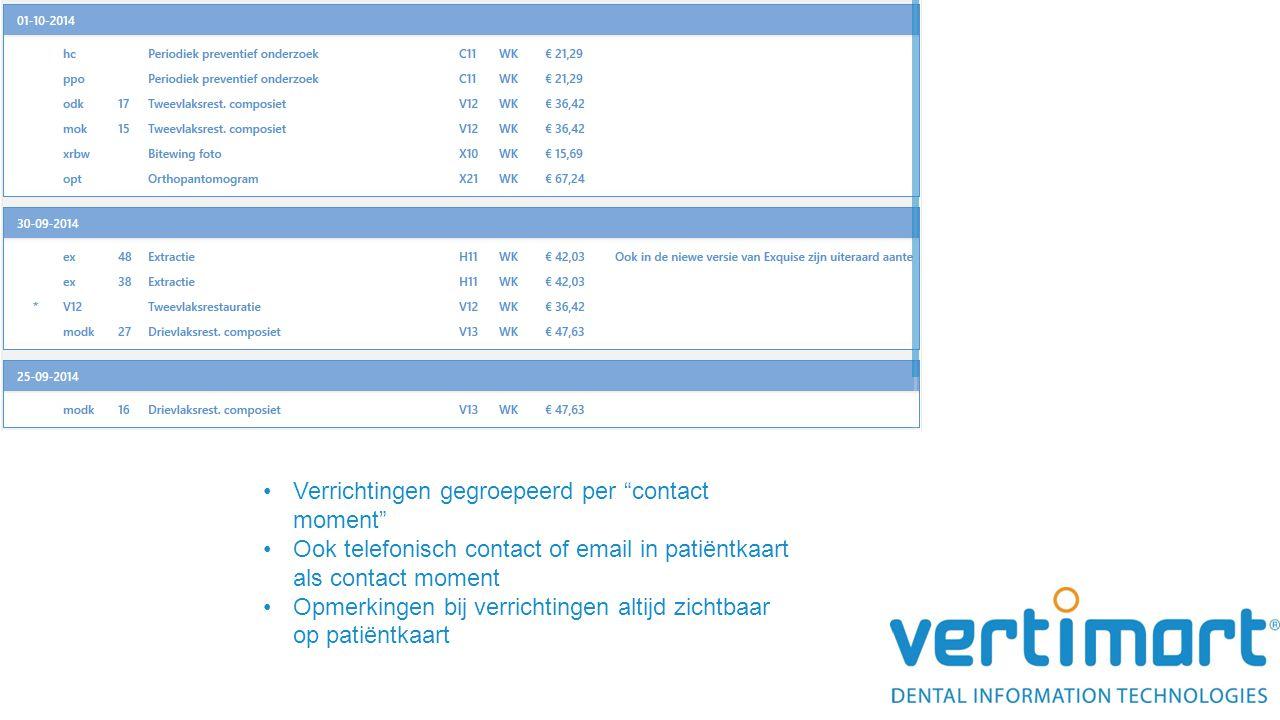 """Verrichtingen gegroepeerd per """"contact moment"""" Ook telefonisch contact of email in patiëntkaart als contact moment Opmerkingen bij verrichtingen altij"""