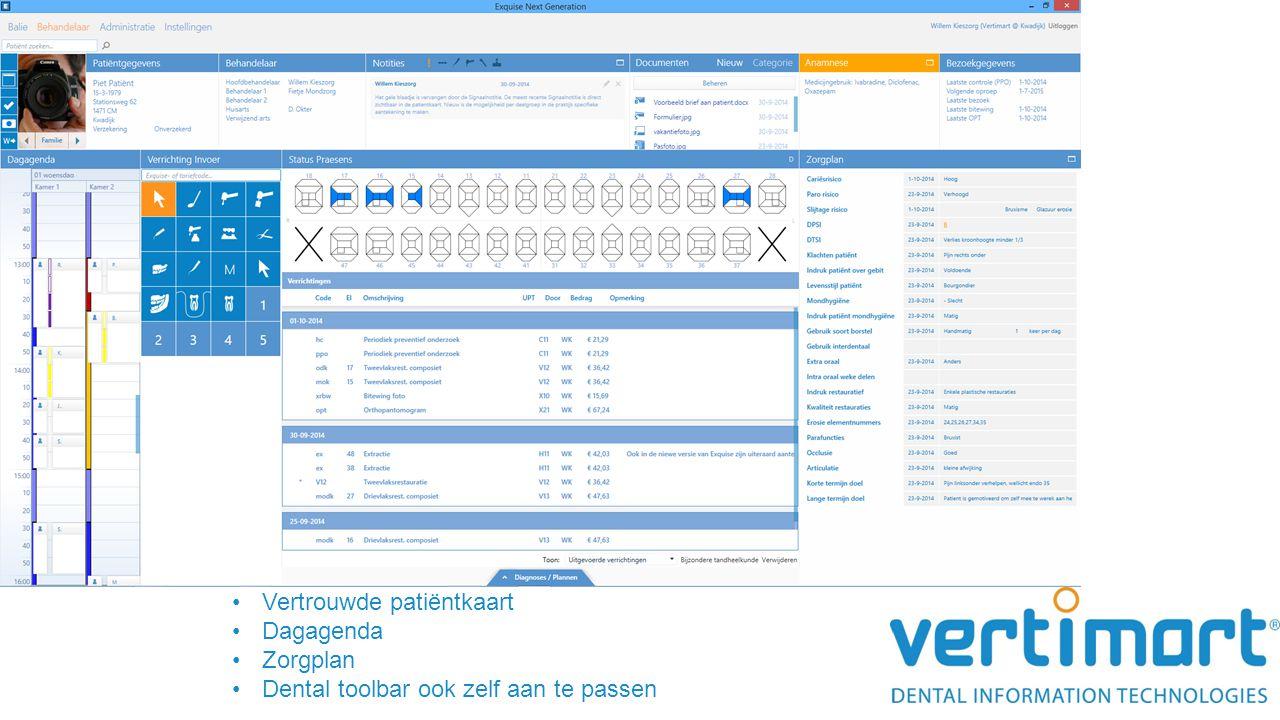Vertrouwde patiëntkaart Dagagenda Zorgplan Dental toolbar ook zelf aan te passen