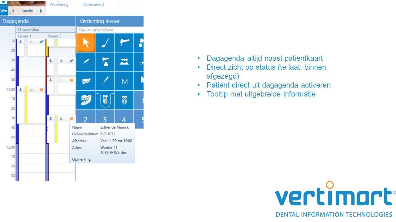 Dagagenda altijd naast patiëntkaart Direct zicht op status (te laat, binnen, afgezegd) Patiënt direct uit dagagenda activeren Tooltip met uitgebreide