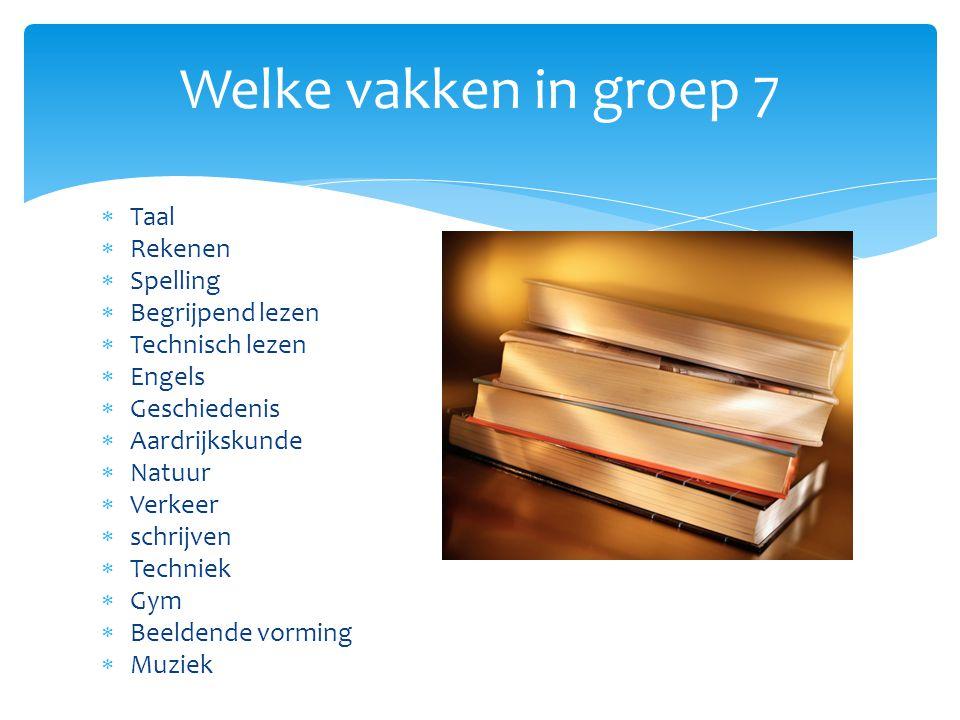  Taal  Rekenen  Spelling  Begrijpend lezen  Technisch lezen  Engels  Geschiedenis  Aardrijkskunde  Natuur  Verkeer  schrijven  Techniek 