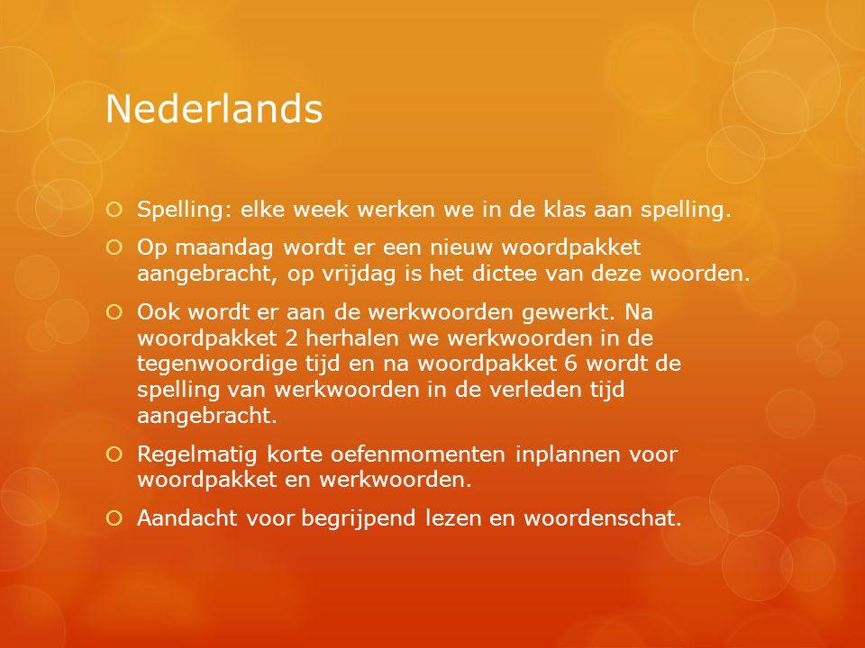 Nederlands  Spelling: elke week werken we in de klas aan spelling.  Op maandag wordt er een nieuw woordpakket aangebracht, op vrijdag is het dictee