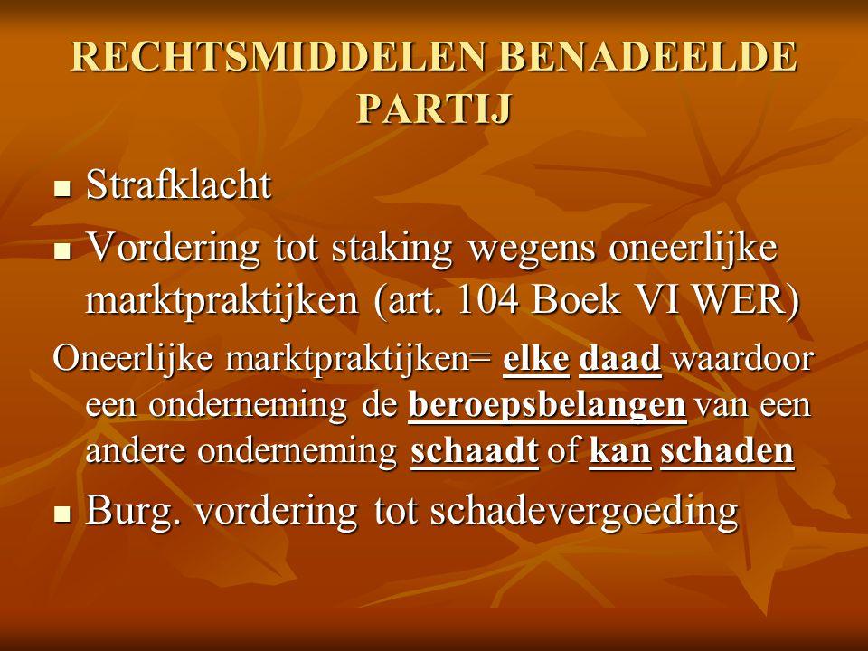 RECHTSMIDDELEN BENADEELDE PARTIJ Strafklacht Strafklacht Vordering tot staking wegens oneerlijke marktpraktijken (art. 104 Boek VI WER) Vordering tot