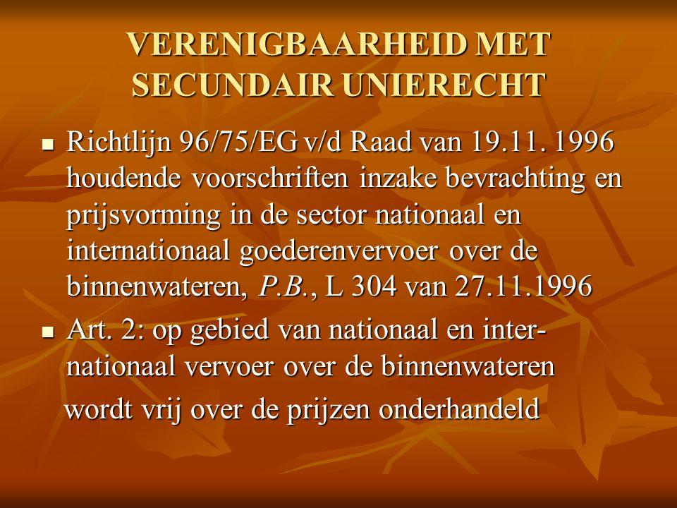 VERENIGBAARHEID MET SECUNDAIR UNIERECHT Richtlijn 96/75/EG v/d Raad van 19.11. 1996 houdende voorschriften inzake bevrachting en prijsvorming in de se