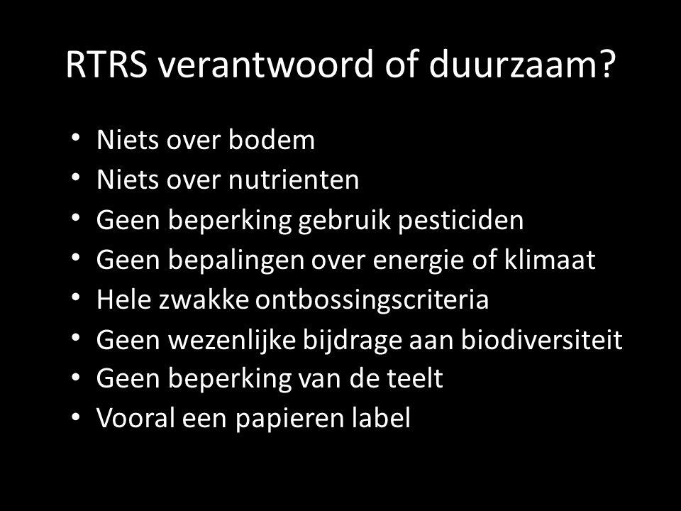 RTRS verantwoord of duurzaam.