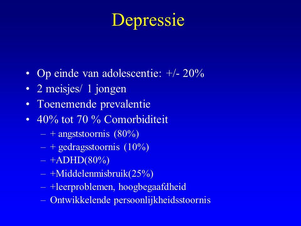 Depressie Op einde van adolescentie: +/- 20% 2 meisjes/ 1 jongen Toenemende prevalentie 40% tot 70 % Comorbiditeit –+ angststoornis (80%) –+ gedragsst