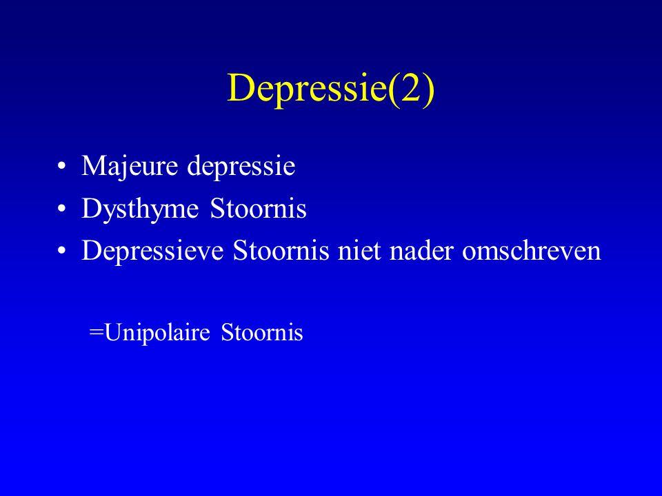 Depressie(2) Majeure depressie Dysthyme Stoornis Depressieve Stoornis niet nader omschreven =Unipolaire Stoornis