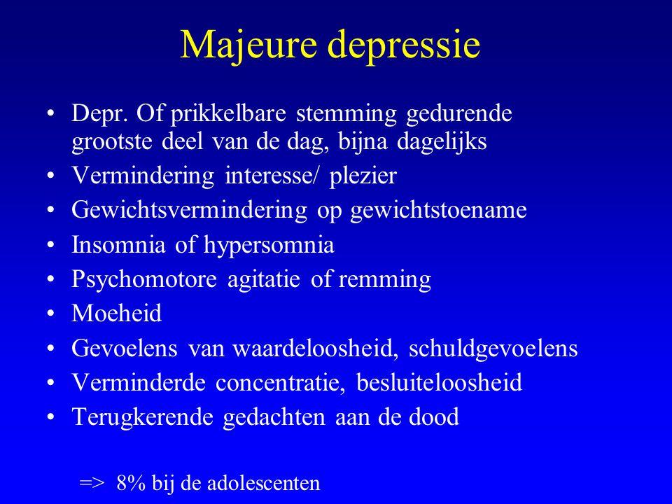 Majeure depressie Depr. Of prikkelbare stemming gedurende grootste deel van de dag, bijna dagelijks Vermindering interesse/ plezier Gewichtsverminderi