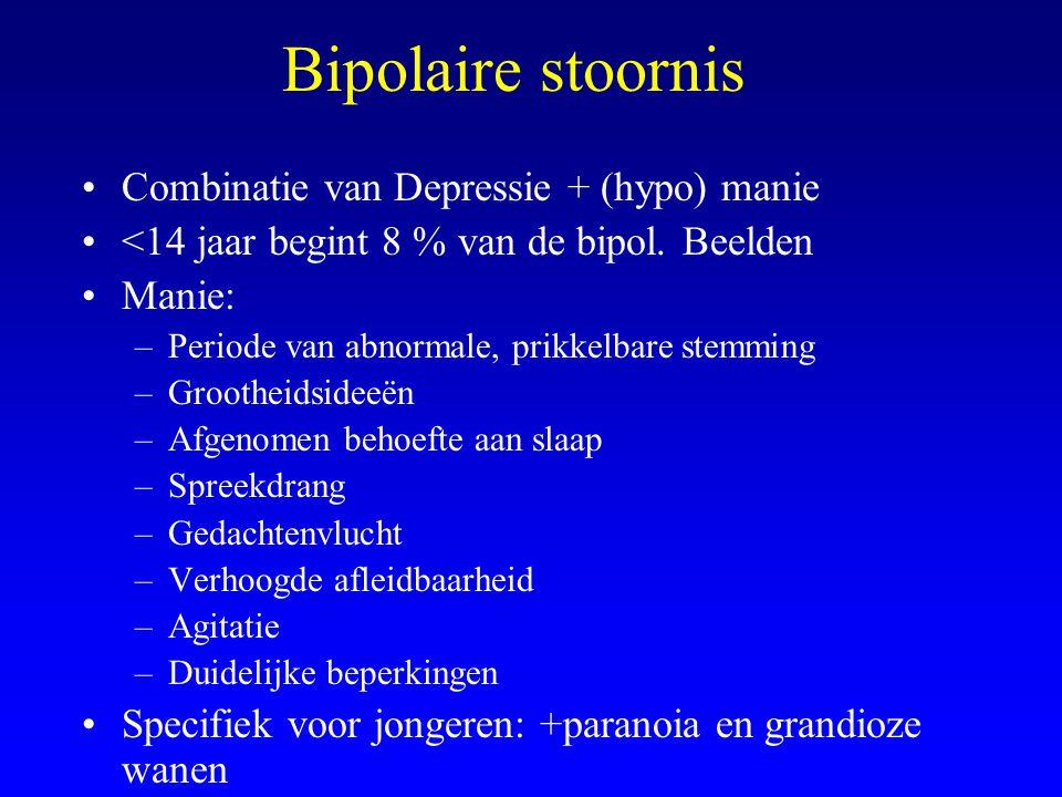 Bipolaire stoornis Combinatie van Depressie + (hypo) manie <14 jaar begint 8 % van de bipol. Beelden Manie: –Periode van abnormale, prikkelbare stemmi