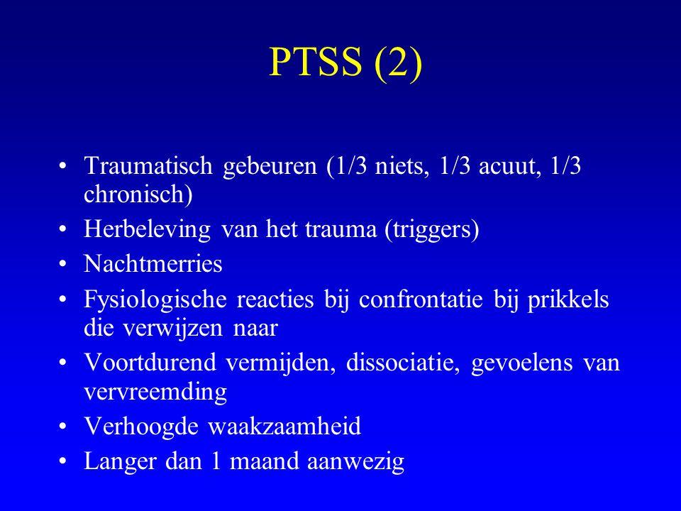 PTSS (2) Traumatisch gebeuren (1/3 niets, 1/3 acuut, 1/3 chronisch) Herbeleving van het trauma (triggers) Nachtmerries Fysiologische reacties bij conf