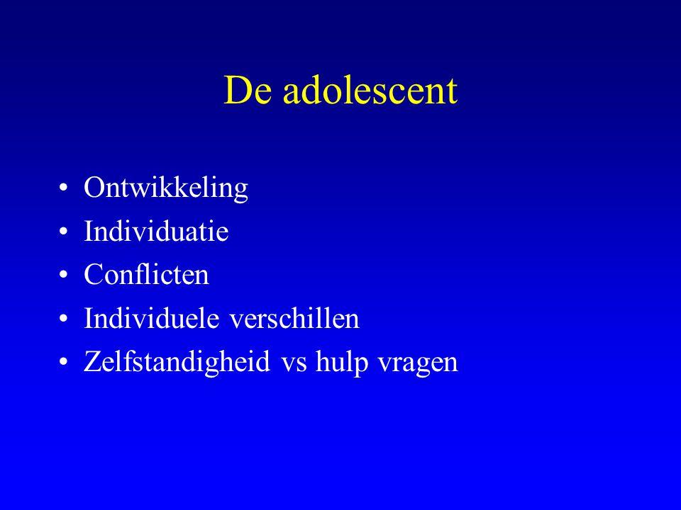 De adolescent Ontwikkeling Individuatie Conflicten Individuele verschillen Zelfstandigheid vs hulp vragen