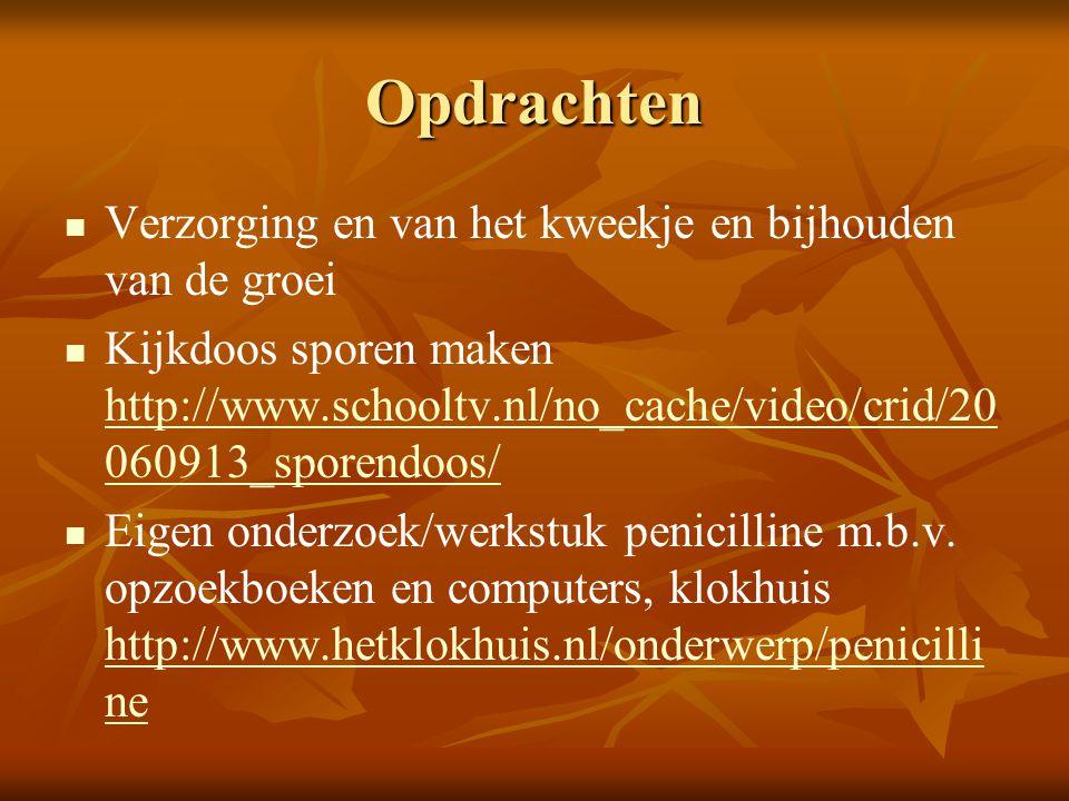 Opdrachten Verzorging en van het kweekje en bijhouden van de groei Kijkdoos sporen maken http://www.schooltv.nl/no_cache/video/crid/20 060913_sporendo