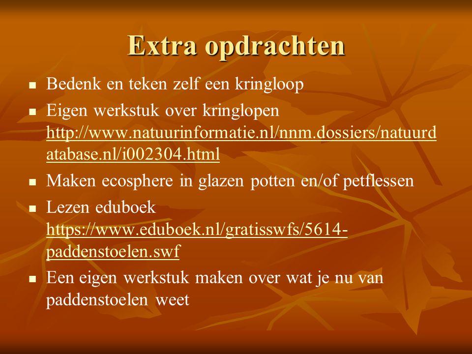 Extra opdrachten Bedenk en teken zelf een kringloop Eigen werkstuk over kringlopen http://www.natuurinformatie.nl/nnm.dossiers/natuurd atabase.nl/i002