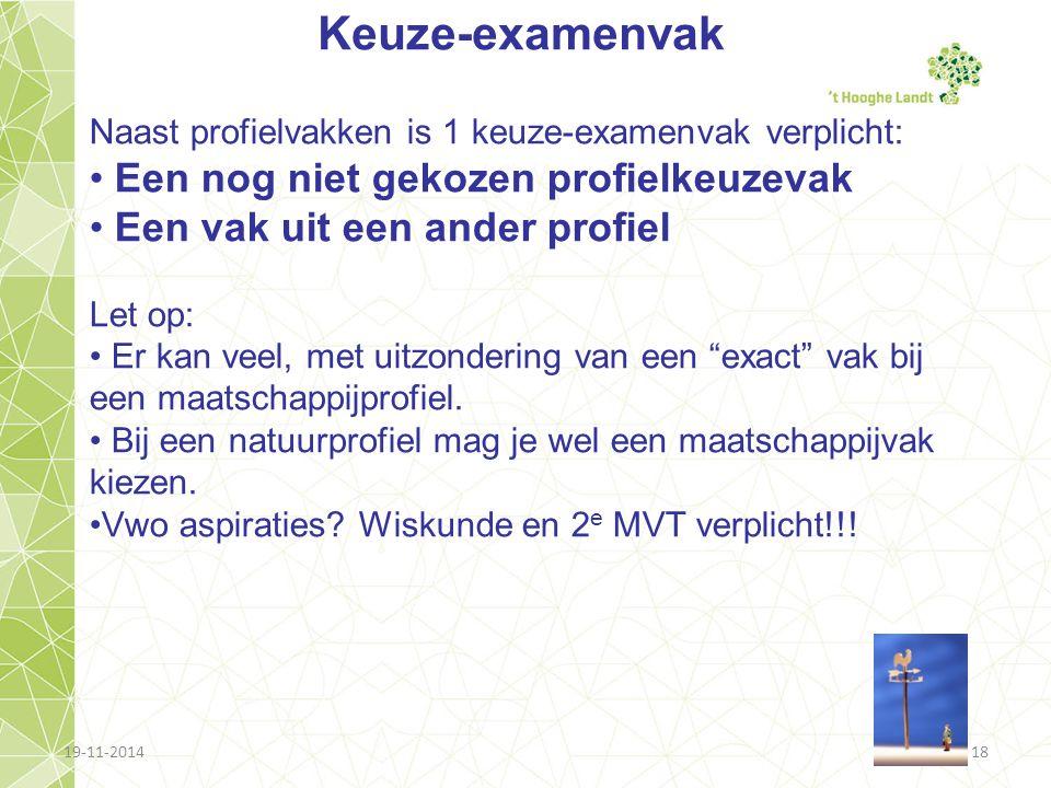 19-11-201418 Keuze-examenvak Naast profielvakken is 1 keuze-examenvak verplicht: Een nog niet gekozen profielkeuzevak Een vak uit een ander profiel Le