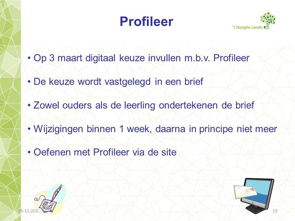 19-11-201419 Profileer Op 3 maart digitaal keuze invullen m.b.v. Profileer De keuze wordt vastgelegd in een brief Zowel ouders als de leerling onderte