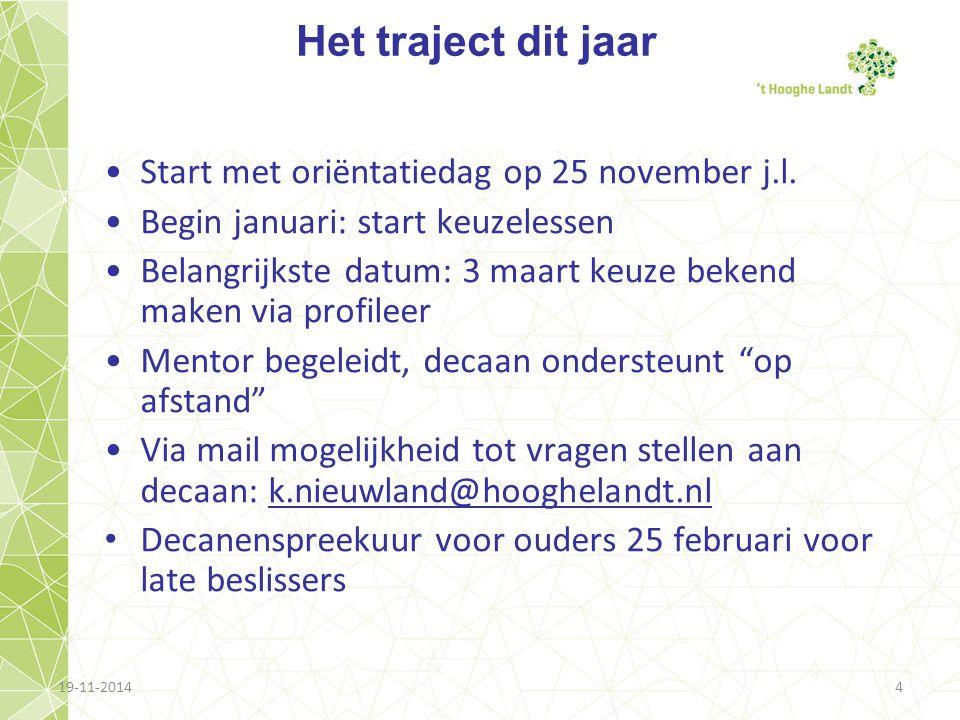 19-11-20144 Het traject dit jaar Start met oriëntatiedag op 25 november j.l. Begin januari: start keuzelessen Belangrijkste datum: 3 maart keuze beken