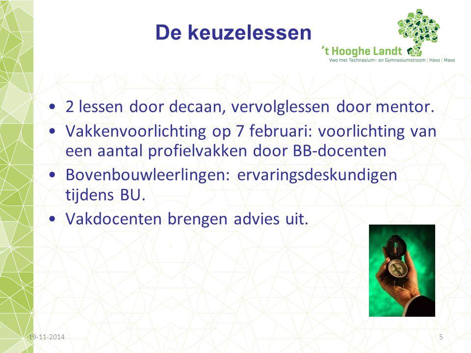 19-11-20145 De keuzelessen 2 lessen door decaan, vervolglessen door mentor. Vakkenvoorlichting op 7 februari: voorlichting van een aantal profielvakke