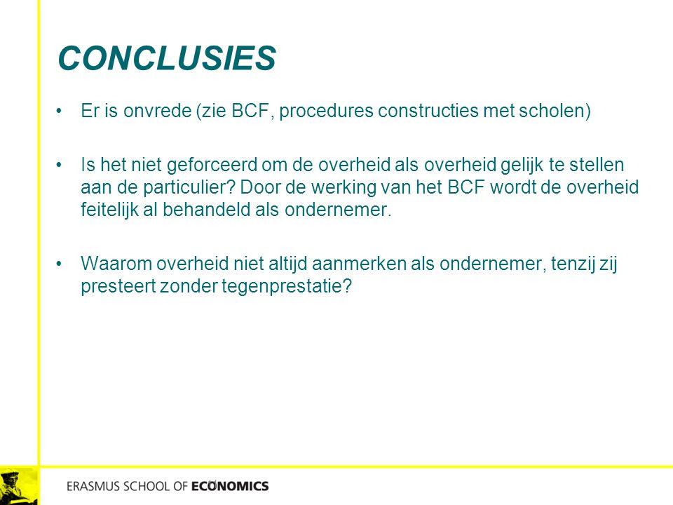 CONCLUSIES Er is onvrede (zie BCF, procedures constructies met scholen) Is het niet geforceerd om de overheid als overheid gelijk te stellen aan de pa