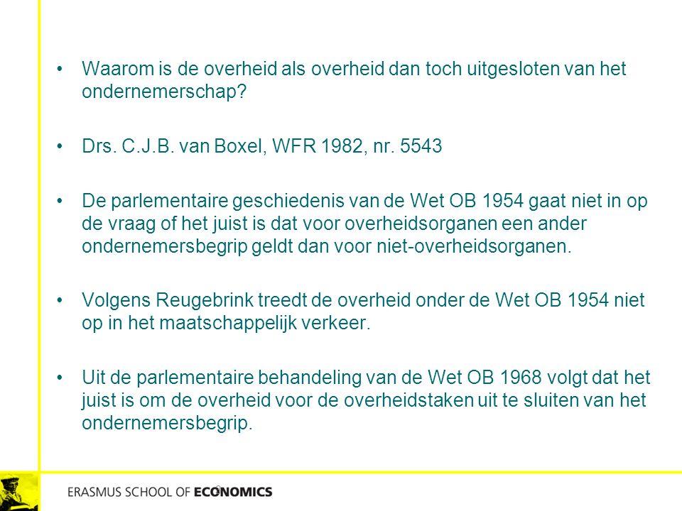 Waarom is de overheid als overheid dan toch uitgesloten van het ondernemerschap? Drs. C.J.B. van Boxel, WFR 1982, nr. 5543 De parlementaire geschieden