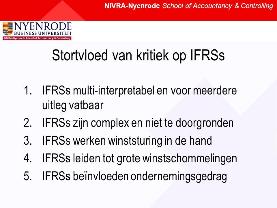 NIVRA-Nyenrode School of Accountancy & Controlling Stortvloed van kritiek op IFRSs 1.IFRSs multi-interpretabel en voor meerdere uitleg vatbaar 2.IFRSs zijn complex en niet te doorgronden 3.IFRSs werken winststuring in de hand 4.IFRSs leiden tot grote winstschommelingen 5.IFRSs beïnvloeden ondernemingsgedrag