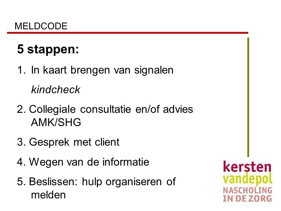 MELDCODE 5 stappen: 1.In kaart brengen van signalen kindcheck 2. Collegiale consultatie en/of advies AMK/SHG 3. Gesprek met client 4. Wegen van de inf