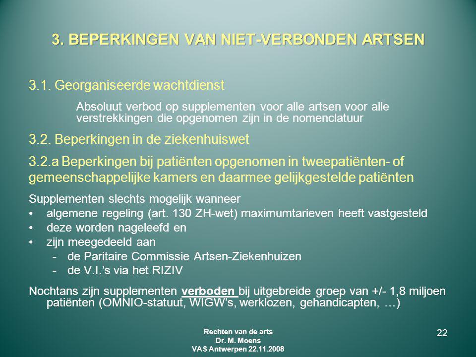 3.1. Georganiseerde wachtdienst Absoluut verbod op supplementen voor alle artsen voor alle verstrekkingen die opgenomen zijn in de nomenclatuur 3.2. B