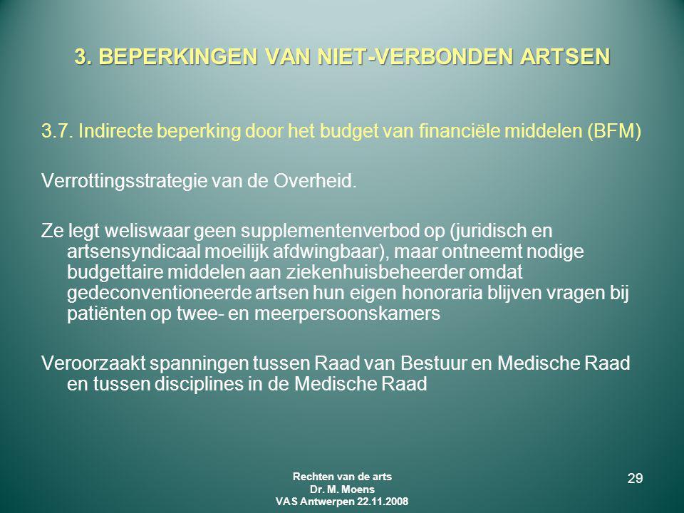 3.7. Indirecte beperking door het budget van financiële middelen (BFM) Verrottingsstrategie van de Overheid. Ze legt weliswaar geen supplementenverbod