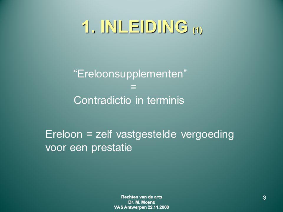 """1. INLEIDING (1) """"Ereloonsupplementen"""" = Contradictio in terminis Ereloon = zelf vastgestelde vergoeding voor een prestatie 3 Rechten van de arts Dr."""