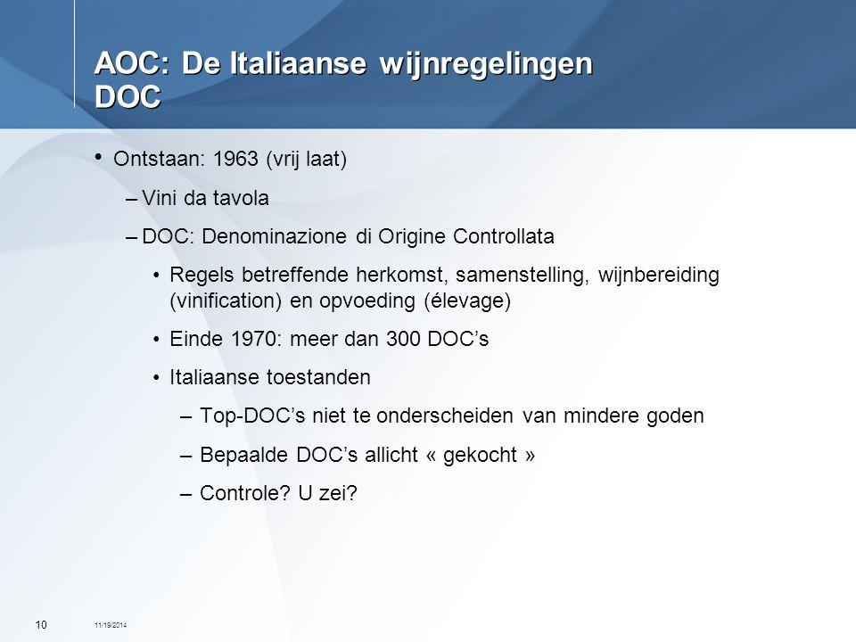 11/19/2014 10 AOC: De Italiaanse wijnregelingen DOC Ontstaan: 1963 (vrij laat) –Vini da tavola –DOC: Denominazione di Origine Controllata Regels betre