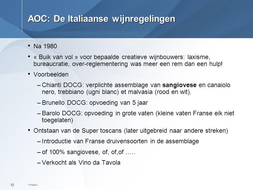 11/19/2014 12 AOC: De Italiaanse wijnregelingen Na 1980 « Buik van vol » voor bepaalde creatieve wijnbouwers: laxisme, bureaucratie, over-reglementeri