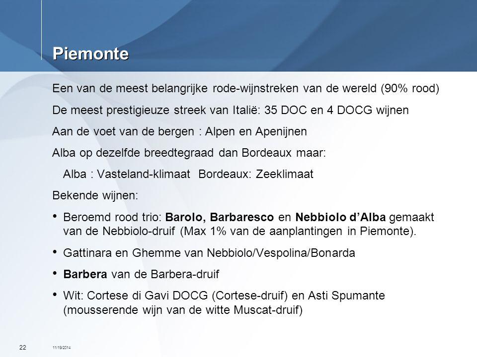 11/19/2014 22 Piemonte Een van de meest belangrijke rode-wijnstreken van de wereld (90% rood) De meest prestigieuze streek van Italië: 35 DOC en 4 DOC