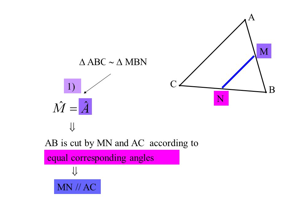 A C B M N  ABC ………….   MBN 1)  AB is cut by MN and AC according to ………………………………..
